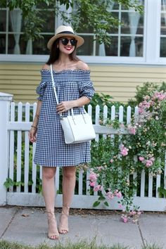 La Mariposa: Off-the-shoulder gingham plaid dress, summer plaid dress, summer gingham dress, gingham Fresh Outfits, Outfits With Hats, Stylish Outfits, Gingham Dress, Plaid Dress, Casual Dresses, Short Dresses, Sewing Clothes, Pretty Dresses