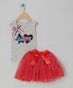 Save Now on this Gray Love Tank & Red Pettiskirt - Infant, Toddler & Girls by Ready Set Sparkle Couture on #zulily today!