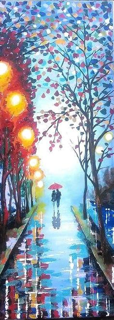Original Abstract Painting Acrylic - A Couple With Umbrella - Forest Rain Landscape -  Colorful Abstract Palette Knife - Ready To Hang by ArtonlineGallery on Etsy