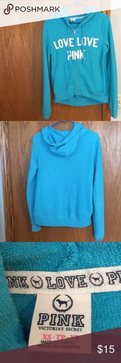 Lazy day zip up Blue PINK lazy day zip up. Good condition. It doesn't fit as wide as it looks. Crops a little in the front-very cute. Look fab while enjoying a lazy day!  PINK Tops Sweatshirts & Hoodies