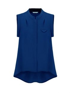 Trendy Simple Solid Color Sleeveless Chiffon Blouse