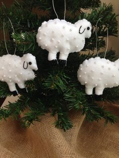 Faux Pearls Sequin & Beaded White Felt Standing Sheep Christmas Ornament Little Lamb Ornament Sheep Nursery Decor Baby shower Ready to Ship by lindasornaments on Etsy