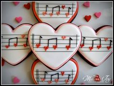 You make my heart sing!-Valentine Music Cookies by Melissa Joy : You make my heart sing!-Valentine Music Cookies by Melissa Joy Valentine's Day Sugar Cookies, Fancy Cookies, Iced Cookies, Cute Cookies, Cupcake Cookies, Cookie Favors, Flower Cookies, Easter Cookies, Valentines Day Cookies