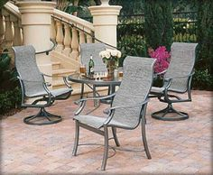 This aluminum patio furniture collection is a perfect interplay of extruded aluminum seamlessly blended with jazzy cast aluminum detail. The Montreux collection, designed by Peter Homestead, is a full-line offering in sling, cushion construction and our all-new Tropi-Kane Woven Seating System, including swivel barstools and patio swivel rockers.