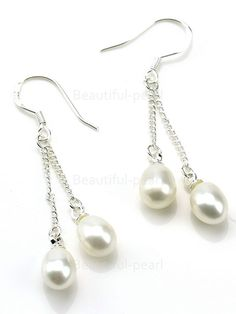 Freshwater Pearl Very good A Long Oval B2 Pearl Earrings