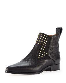 Chloe Studded Leather Chelsea Boot, Black