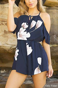 Square-neck Lace-up Random Floral Print Playsuit in Navy