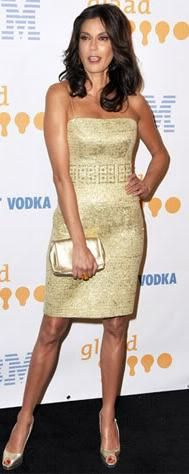Who made Teri Hatcher's gold pumps and gold strapless dress that she wore to the 20th annual GLAAD Media Awards, L.A?