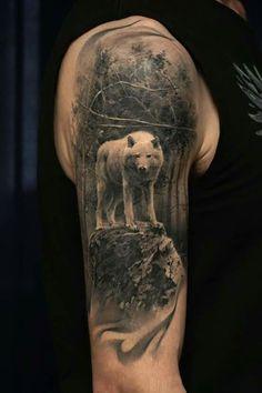 976 best wolf tattoos images in 2019 Wolf Sleeve, Wolf Tattoo Sleeve, Full Sleeve Tattoos, Tattoo Sleeve Designs, Mountain Sleeve Tattoo, Wolf Tattoos, Animal Tattoos, Leg Tattoos, Body Art Tattoos