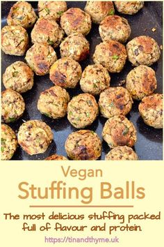 The best vegan stuffing with all the comfort and familiarity of traditional stuffing, but packed with protein and flavour too. Bake in a tray, or shape into balls. Whether you're vegetarian, vegan or carnivorous, you'll love these chestnut and tempeh stuffing balls. #TinandThyme #StuffingBalls #VeganStuffing #ChestnutStuffing #TempehRecipe Autumn Recipes Vegetarian, Delicious Vegan Recipes, Vegan Meals, Vegan Food, Fall Recipes, Vegan Christmas, Vegan Thanksgiving, Christmas Cooking, Christmas Recipes