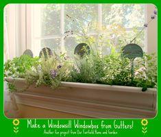DIY ~ Windowsill Windowboxes From Gutters!  http://ourfairfieldhomeandgarden.com/diy-windowsill-windowboxes/