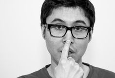 Japanese gesture nose point self