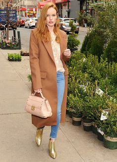 Kate Bosworth stunned with her strawberry blonde hair and long camel coat look in NYC