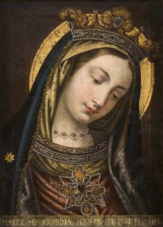 """Mater Misericordiæ monstra te esse matrem. An 18th century copy of the miraculous image of the Mother with the Bowed Head, known in German as Mutter mit dem geneigten Haupt, in the Ursuline convent church in Landshut, Bavaria. The Latin inscription translates as """"Mother of Mercy, show thyself to be a mother"""", words which originate from the Salve Regina and Ave Maris Stella. Source: dorotheum.com germany"""