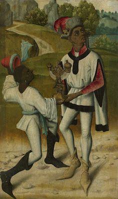 clothes, shoes - Balthasar, één van de drie koningen, met een bediende, anoniem, 1480 #publicdomain