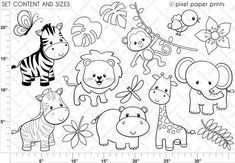 Jungle Friends - Digital stamps - Clipart - Are you looking for cute high quality images to use in your projects? Clipart, Digital Stamps, Painted Rocks, Coloring Pages, Colouring, Applique, Paper Crafts, Diy Paper, Doodles