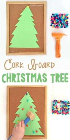 Let preschoolers work on fine motor skills by decorating a cork board Christmas tree! Brilliant.