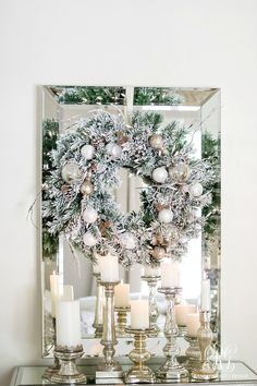 Deck the Halls! Elegant winter wreath and candles