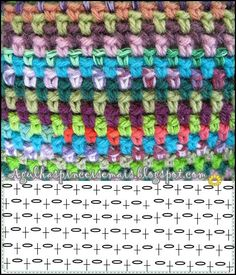 Crochet Linen Stitch also known as the woven stitch or moss stitch. Pretty and simple: sc, ch 1. Work opposite on next row. Chart by Agulhas e Pinceis