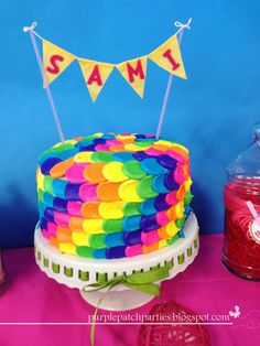 Rainbow cake at a Lalaloopsy Party #lalaloopsy #party