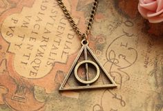 Joyplancraft Harry Potter Necklace,Retro Bronze Deathly Hallows Pendant Necklace,so Cute and Lovely Necklace,Fashion Jewelry,Friend Gift Deathly Hallows Necklace, Harry Potter Necklace, Harry Potter Deathly Hallows, Harry Potter Books, Fashion Jewelry Necklaces, Jewellery, Jewelry Shop, Handmade Bracelets, Antique Gold