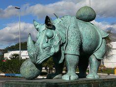 rhino industrial bronze art