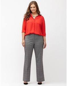 Lena Tailored Stretch plaid trouser by Lane Bryant | Lane Bryant