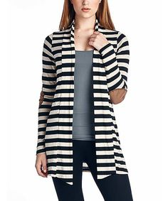 This Always Me Black Stripe Elbow-Patch Open Cardigan by Always Me is perfect! #zulilyfinds