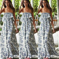 Strapless Boho Long Maxi Dress