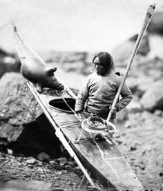 The Kayak: Possibly, the first photo of an Inuk and his kayak, 1854.  https://www.pinterest.com/lionmomma2001/inuit-eskimo/