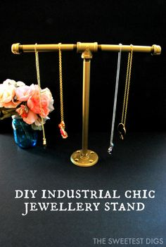 Looking for somewhere to store necklaces and bracelets? Make this super easy DIY industrial pipe jewelry stand - the sweetest digs