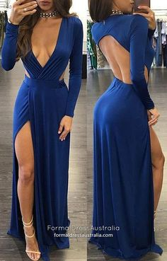 Elegant Prom Dresses, Sheath Deep V-neck Slit Leg Open Back Sexy Royal Blue Prom Dress Shop for La Femme prom dresses. Elegant long designer gowns, sexy cocktail dresses, short semi-formal dresses, and party dresses. Royal Blue Evening Dress, Royal Blue Prom Dresses, Blue Evening Dresses, Prom Dresses Long With Sleeves, Backless Prom Dresses, A Line Prom Dresses, Homecoming Dresses, Sexy Dresses, Evening Gowns