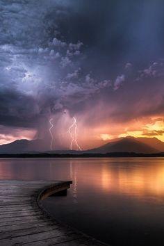 """""""Lightning at sunset, Lake Viverone, Italy"""""""