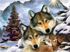 Free Shiping 5D Diamond Painting full square drill Home decoration Cross Stitch Mosaic Embroidery needlework wolf family B008