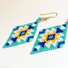 Aqua royal blue and yellow southwest style beaded earrings Beaded Earrings Patterns, Beaded Jewelry, Unique Jewelry, Brick Stitch Earrings, Native American Beading, Southwest Style, Custom Banners, Beadwork, Etsy Earrings