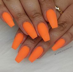 Matte Orange Coffin Nails