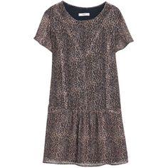 Mango Leopard Print Dress, Medium Brown ($62) ❤ liked on Polyvore featuring dresses, knee-length dresses, brown maxi dress, midi dress, short sleeve maxi dress and maxi dress