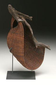 Bamboo and wood nature art Rivulet sculptural basket