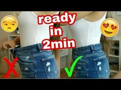 How to make jeans tight at waist without sewing machine How To Make Jeans, How To Make Skirt, Short Jeans, Shorts Diy, Sewing Shorts, Shrink Jeans, Jean Diy, Tailoring Jeans, Jeans Rock