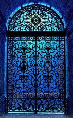 Blue lights shining through the gate of iron.....vh