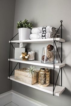 Over-the-Toilet Storage Three shelves - ideas for bathroom re . - Over-the-toilet storage Three shelves – ideas for bathroom shelves – storage - Bathroom Shelf Decor, Diy Bathroom, Bathroom Styling, Bathroom Organization, Remodel Bathroom, Master Bathrooms, Bathroom Cabinets, Bathroom Canvas, Bathroom Designs