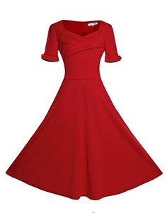 New Arrival 2017 Wear To Work Women Vintage Dress Deep Square Collar Femme Short Sleeve Slim Big Swing A-Line Dress Vestidos 1940s Dresses, Nice Dresses, Casual Dresses, Vintage Red Dress, Vintage Dresses, Cheap Skater Dresses, Vintage Clothing Stores, Half Sleeve Dresses, Classy Dress