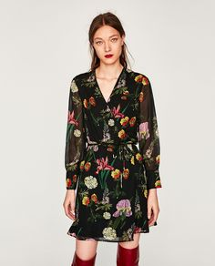 ZARA - WOMAN - PRINTED MINI WRAP DRESS