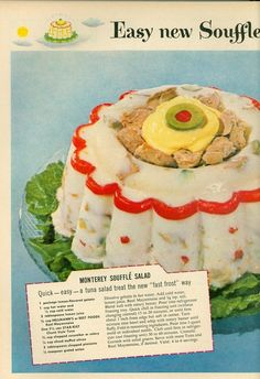 """This 1955 ad for Star-Kist tuna has been crowned """"most disgusting"""" in a Vintage Ads contest. Mom's ingredients for """"Monterey Soufflé Salad"""": lemon Jello, mayo, tuna, green olives, and a deep hatred for her children. [Vintage Ads via Copyranter] Jello Recipes, Old Recipes, Vintage Recipes, Vintage Food, Vintage Ads, Vintage Cooking, Vintage Photos, Jello Desserts, Creepy Vintage"""