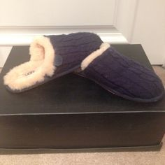 ❗️Weekend Sale❗️UGG Sheepskin Slippers Lightly worn UGG slippers - worn only a handful of times, in great condition. Genuine sheepskin on the inside is very soft and warm. Navy slipper with cream fur. UGG Shoes Slippers