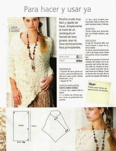 Crochet y dos agujas: Patrones de poncho tejido a dos agujas super fácil...