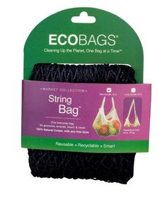 Eco-Bags Market Collection String Bags Tote Handle - Black - 10 Bags. Earth Friendly, Fashionable and Super Convenient