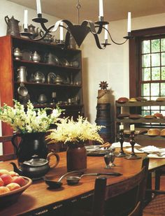 Pewter, firkins, wooden bowls - oh my! Primitive Dining Rooms, Country Dining Rooms, Primitive Kitchen, Country Kitchen, Primitive Decor, Raised Panel Walls, Moldings And Trim, Moulding, Early American Decorating