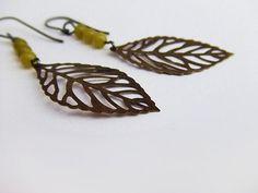 bronze skeleton leaf earrings green round beads by PaleRoom, $25.00