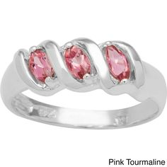 CHROMA Sterling Silver Marquise-cut Birthstone 3-stone Ring (Size 5, pink tourmaline), Women's